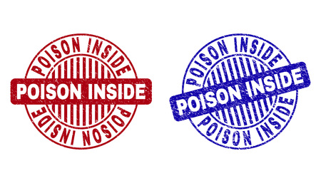 Grunge POISON INSIDE round stamp seals isolated on a white background. Round seals with grunge texture in red and blue colors. Illustration