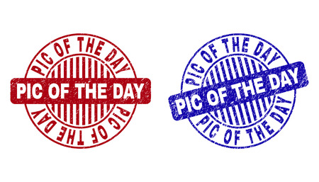 Grunge PIC OF THE DAY round stamp seals isolated on a white background. Round seals with grunge texture in red and blue colors. Illusztráció