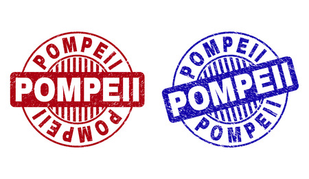 Grunge POMPEII round stamp seals isolated on a white background. Round seals with grunge texture in red and blue colors. Vector rubber imprint of POMPEII caption inside circle form with stripes.