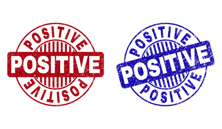 Grunge POSITIVE round stamp seals isolated on a white background. Round seals with grunge texture in red and blue colors. Vector rubber watermark of POSITIVE label inside circle form with stripes.