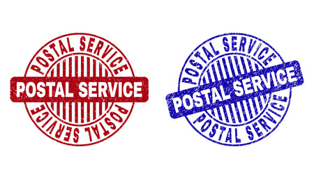 Grunge POSTAL SERVICE round stamp seals isolated on a white background. Round seals with grunge texture in red and blue colors.