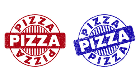 Grunge PIZZA round stamp seals isolated on a white background. Round seals with grunge texture in red and blue colors. Vector rubber watermark of PIZZA label inside circle form with stripes.