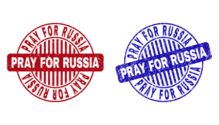 Grunge PRAY FOR RUSSIA round stamp seals isolated on a white background. Round seals with grunge texture in red and blue colors.