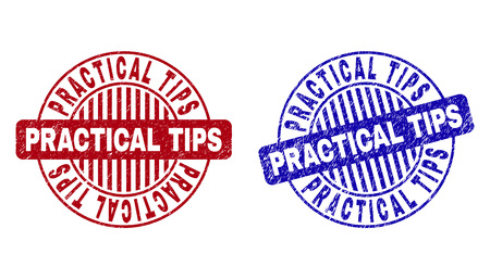 Grunge PRACTICAL TIPS round stamp seals isolated on a white background. Round seals with grunge texture in red and blue colors. Vectores