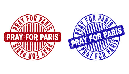 Grunge PRAY FOR PARIS round stamp seals isolated on a white background. Round seals with grunge texture in red and blue colors.