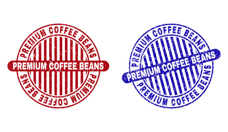 Grunge PREMIUM COFFEE BEANS round stamp seals isolated on a white background. Round seals with grunge texture in red and blue colors.