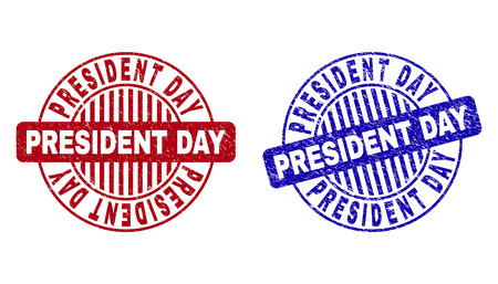 Grunge PRESIDENT DAY round stamp seals isolated on a white background. Round seals with grunge texture in red and blue colors. 일러스트