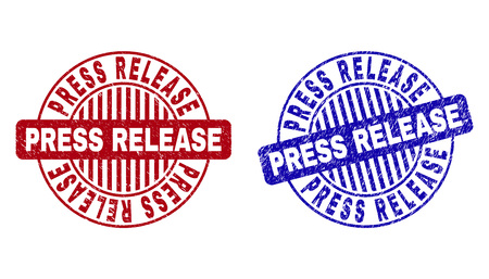 Grunge PRESS RELEASE round stamp seals isolated on a white background. Round seals with grunge texture in red and blue colors.