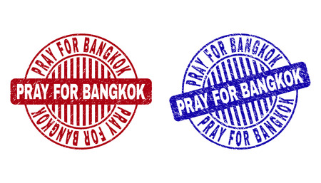 Grunge PRAY FOR BANGKOK round stamp seals isolated on a white background. Round seals with grunge texture in red and blue colors.