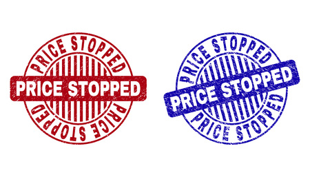 Grunge PRICE STOPPED round stamp seals isolated on a white background. Round seals with grunge texture in red and blue colors.