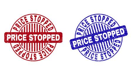 Precio de Grunge PARADO sellos de sello redondo aislado sobre un fondo blanco. Sellos redondos con textura grunge en colores rojo y azul.