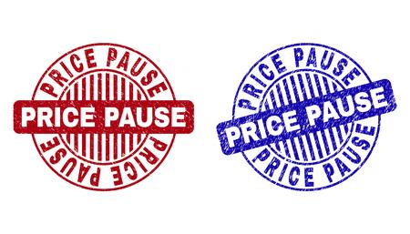 Sellos de sello redondo Grunge PRECIO PAUSA aislados sobre un fondo blanco. Sellos redondos con textura grunge en colores rojo y azul.