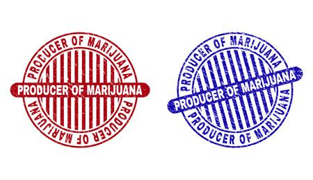 Grunge PRODUCER OF MARIJUANA round stamp seals isolated on a white background. Round seals with grunge texture in red and blue colors.