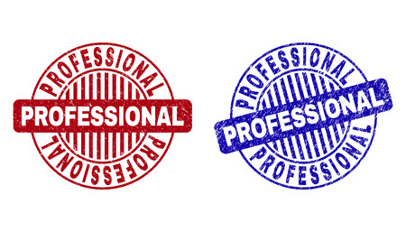 Grunge PROFESSIONAL round stamp seals isolated on a white background. Round seals with grunge texture in red and blue colors.  イラスト・ベクター素材