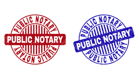 Grunge PUBLIC NOTARY round stamp seals isolated on a white background. Round seals with grunge texture in red and blue colors. Vektoros illusztráció