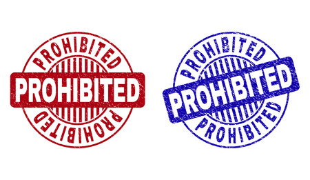 Grunge PROHIBITED round stamp seals isolated on a white background. Round seals with grunge texture in red and blue colors. Vector rubber overlay of PROHIBITED caption inside circle form with stripes. Illustration