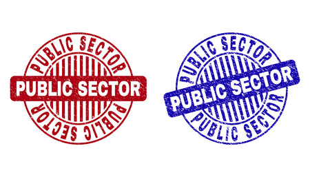 Grunge PUBLIC SECTOR round stamp seals isolated on a white background. Round seals with grunge texture in red and blue colors.