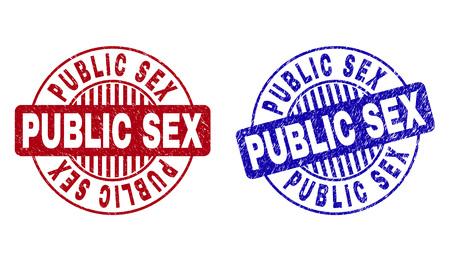 Grunge PUBLIC SEX Runde Stempelsiegel isoliert auf weißem Hintergrund. Runde Siegel mit Distress-Textur in roten und blauen Farben. Vektorgummiüberlagerung des PUBLIC SEX-Etiketts in Kreisform mit Streifen.