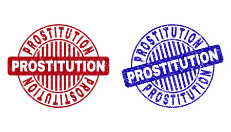 Grunge PROSTITUTION round stamp seals isolated on a white background. Round seals with grunge texture in red and blue colors.