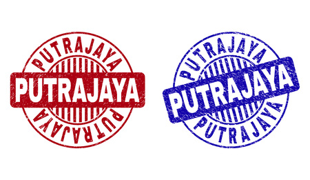 Grunge PUTRAJAYA round stamp seals isolated on a white background. Round seals with grunge texture in red and blue colors. Vector rubber overlay of PUTRAJAYA text inside circle form with stripes.