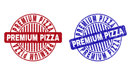 Grunge PREMIUM PIZZA round stamp seals isolated on a white background. Round seals with grunge texture in red and blue colors.