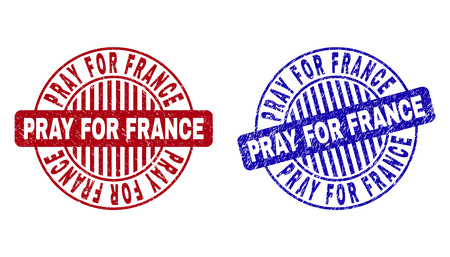 Grunge PRAY FOR FRANCE round stamp seals isolated on a white background. Round seals with grunge texture in red and blue colors.