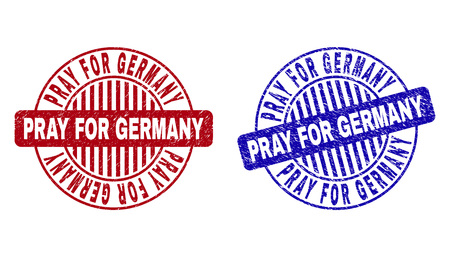 Grunge PRAY FOR GERMANY round stamp seals isolated on a white background. Round seals with grunge texture in red and blue colors.