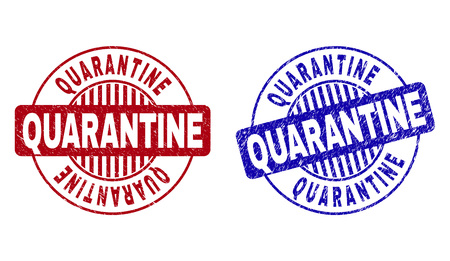Grunge QUARANTINE round stamp seals isolated on a white background. Round seals with distress texture in red and blue colors. Illustration