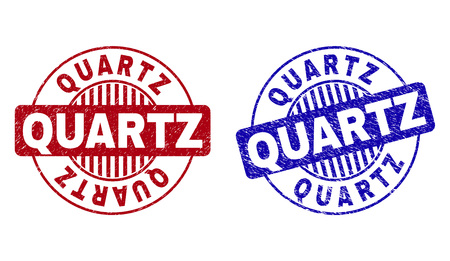 Grunge QUARTZ round stamp seals isolated on a white background. Round seals with grunge texture in red and blue colors. Vector rubber watermark of QUARTZ label inside circle form with stripes.