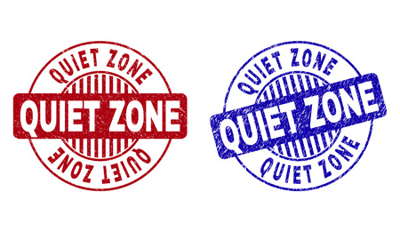 Grunge QUIET ZONE round stamp seals isolated on a white background. Round seals with grunge texture in red and blue colors. Vector rubber watermark of QUIET ZONE text inside circle form with stripes.  イラスト・ベクター素材