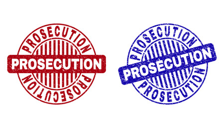 Grunge PROSECUTION round stamp seals isolated on a white background. Round seals with distress texture in red and blue colors.