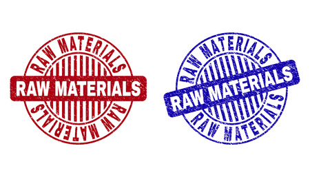 Grunge RAW MATERIALS round stamp seals isolated on a white background. Round seals with distress texture in red and blue colors.