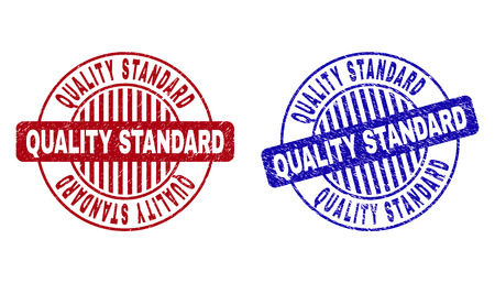 Grunge QUALITY STANDARD round stamp seals isolated on a white background. Round seals with grunge texture in red and blue colors.