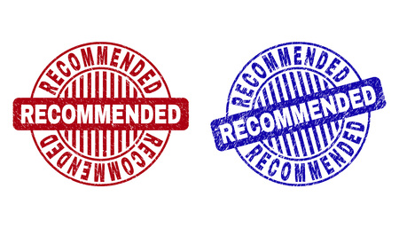 Grunge RECOMMENDED round stamp seals isolated on a white background. Round seals with grunge texture in red and blue colors. Vector rubber overlay of RECOMMENDED title inside circle form with stripes.