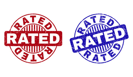 Grunge RATED round stamp seals isolated on a white background. Round seals with distress texture in red and blue colors. Vector rubber overlay of RATED tag inside circle form with stripes.