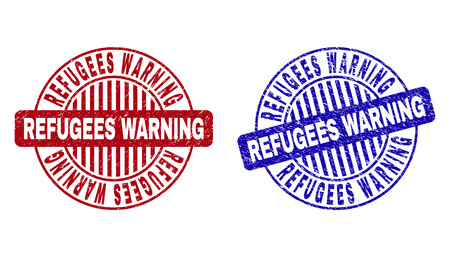 Grunge REFUGEES WARNING round stamp seals isolated on a white background. Round seals with grunge texture in red and blue colors.