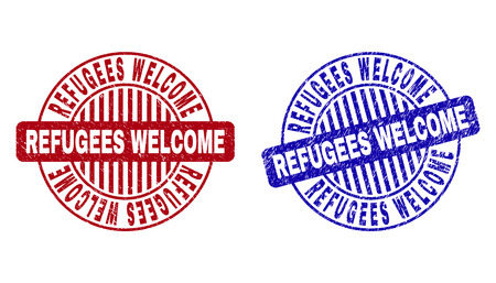 Grunge REFUGEES WELCOME round stamp seals isolated on a white background. Round seals with grunge texture in red and blue colors.