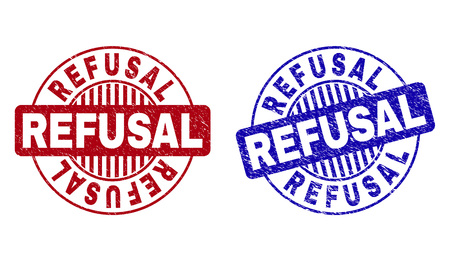 Grunge REFUSAL round stamp seals isolated on a white background. Round seals with grunge texture in red and blue colors. Vector rubber overlay of REFUSAL tag inside circle form with stripes.