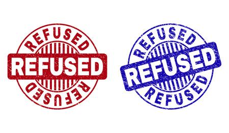 Grunge REFUSE les sceaux de timbre rond isolés sur fond blanc. Joints ronds avec texture grunge dans les couleurs rouge et bleu. Superposition en caoutchouc de vecteur de l'étiquette REFUSÉE à l'intérieur de la forme du cercle avec des rayures.