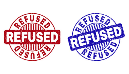 Grunge REFUSED round stamp seals isolated on a white background. Round seals with grunge texture in red and blue colors. Vector rubber overlay of REFUSED tag inside circle form with stripes.