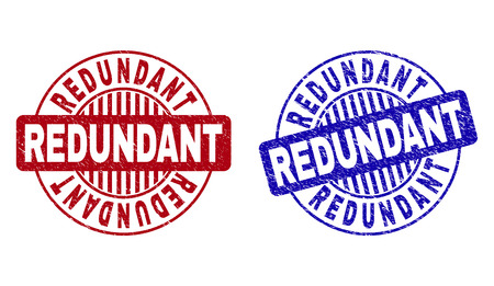 Grunge REDUNDANT round stamp seals isolated on a white background. Round seals with distress texture in red and blue colors. Vector rubber imprint of REDUNDANT text inside circle form with stripes.