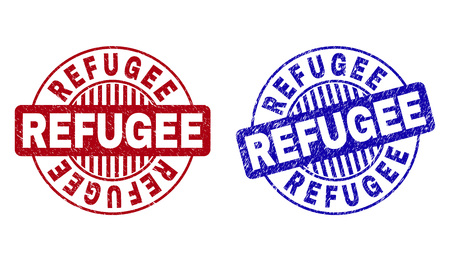 Grunge REFUGEE round stamp seals isolated on a white background. Round seals with distress texture in red and blue colors. Vector rubber imitation of REFUGEE caption inside circle form with stripes.