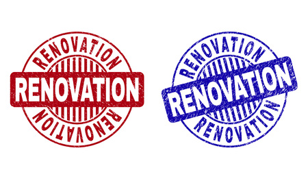 Grunge RENOVATION round stamp seals isolated on a white background. Round seals with grunge texture in red and blue colors. Vector rubber imitation of RENOVATION title inside circle form with stripes.