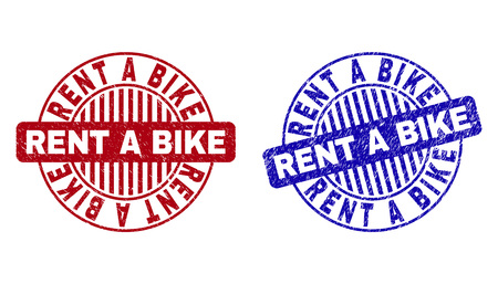 Grunge RENT A BIKE round stamp seals isolated on a white background. Round seals with grunge texture in red and blue colors. Vector rubber overlay of RENT A BIKE text inside circle form with stripes.