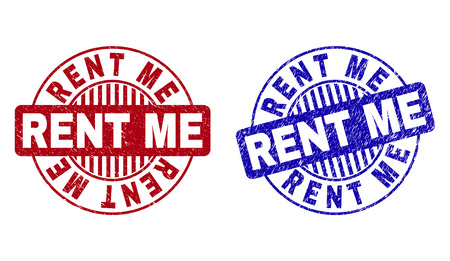 Grunge RENT ME round stamp seals isolated on a white background. Round seals with grunge texture in red and blue colors. Vector rubber watermark of RENT ME text inside circle form with stripes.