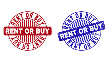 Grunge RENT OR BUY round stamp seals isolated on a white background. Round seals with grunge texture in red and blue colors. Vector rubber overlay of RENT OR BUY text inside circle form with stripes.