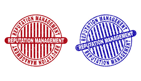 Grunge REPUTATION MANAGEMENT round stamp seals isolated on a white background. Round seals with grunge texture in red and blue colors.