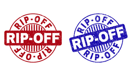 Grunge RIP-OFF round stamp seals isolated on a white background. Round seals with distress texture in red and blue colors. Vector rubber watermark of RIP-OFF tag inside circle form with stripes. Illustration