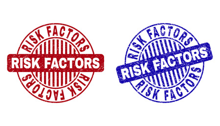 Grunge RISK FACTORS round stamp seals isolated on a white background. Round seals with grunge texture in red and blue colors.