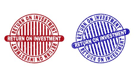 Grunge RETURN ON INVESTMENT round stamp seals isolated on a white background. Round seals with grunge texture in red and blue colors.